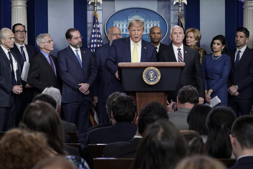 President Trump Joins Coronavirus Task Force Briefing At White House