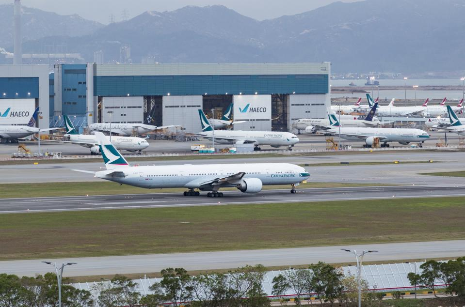 A Cathay Pacific Boeing 777 aircraft seen taxing at the Hong...