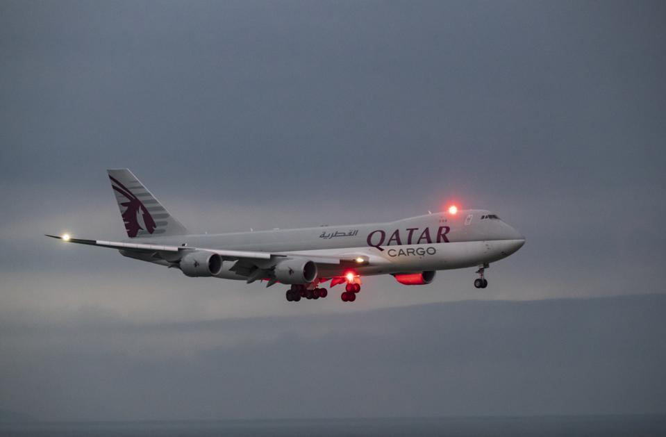 Qatar airways Cargo Boeing 747 aircraft lands at the Hong...