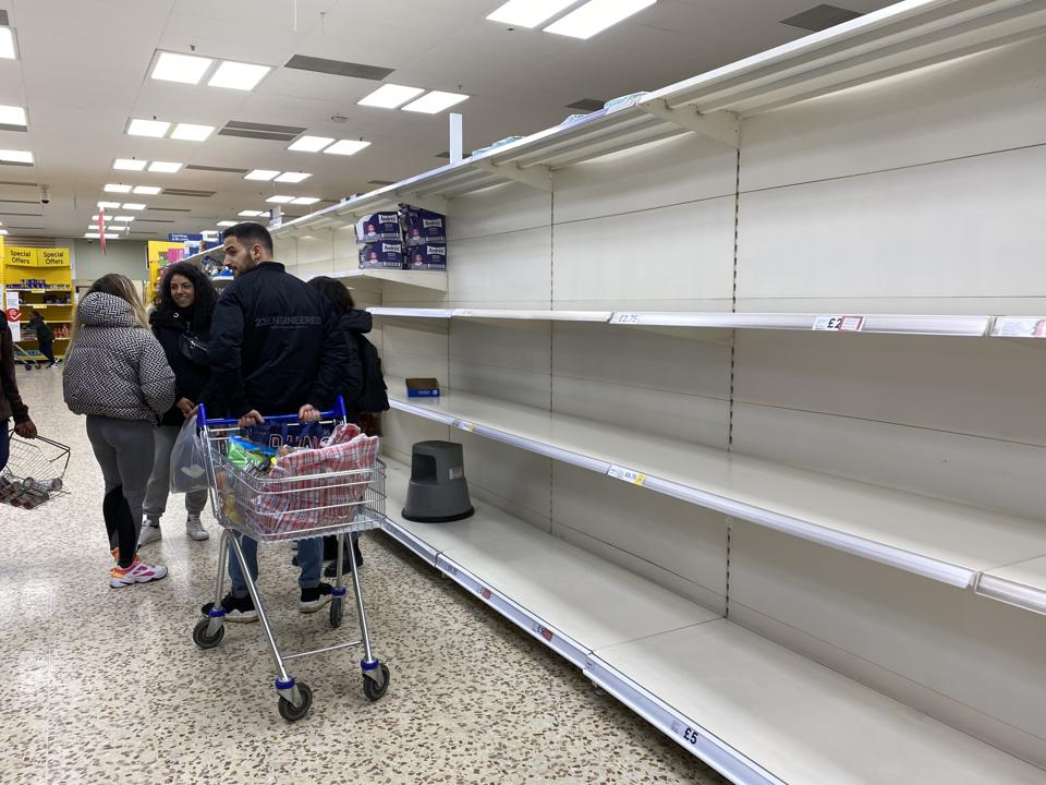 Empty supermarket shelves due to coronavirus in UK