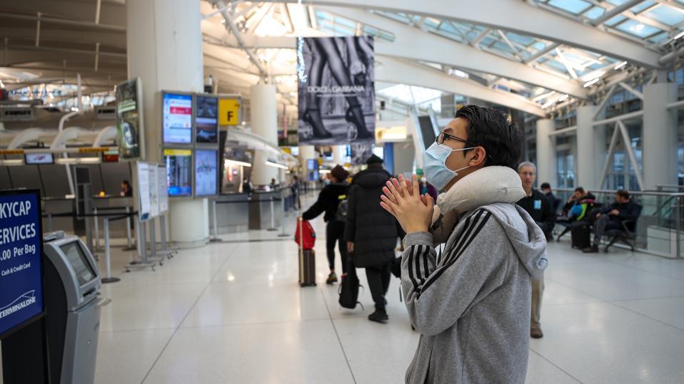 Coronavirus precautions at the John F. Kennedy Airport in New York