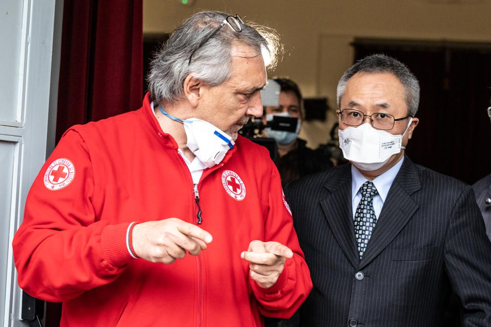 Italian Red Cross President Francesco Rocca and Chinese...