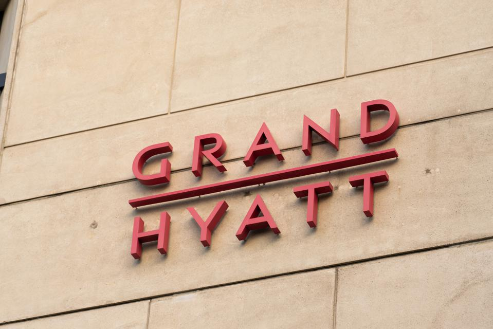 A view of the Grand Hyatt hotel logo seen at one of their...