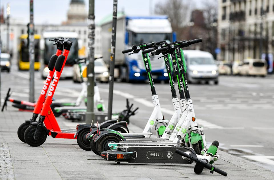 E-scooters at corner