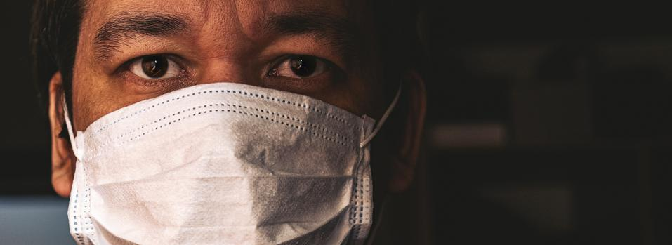 Closeup of man in mask