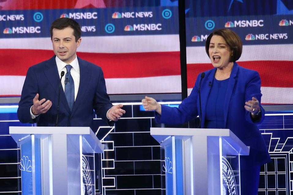 Amy Klobuchar and Pete Buttigieg at the Democratic Presidential Candidates Debate In Las Vegas Ahead Of Nevada Caucuses