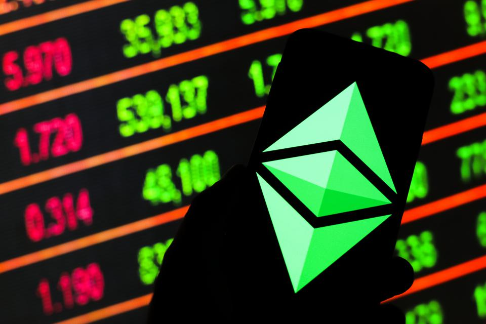 In this photo illustration an Ethereum, cryptocurrency logo...