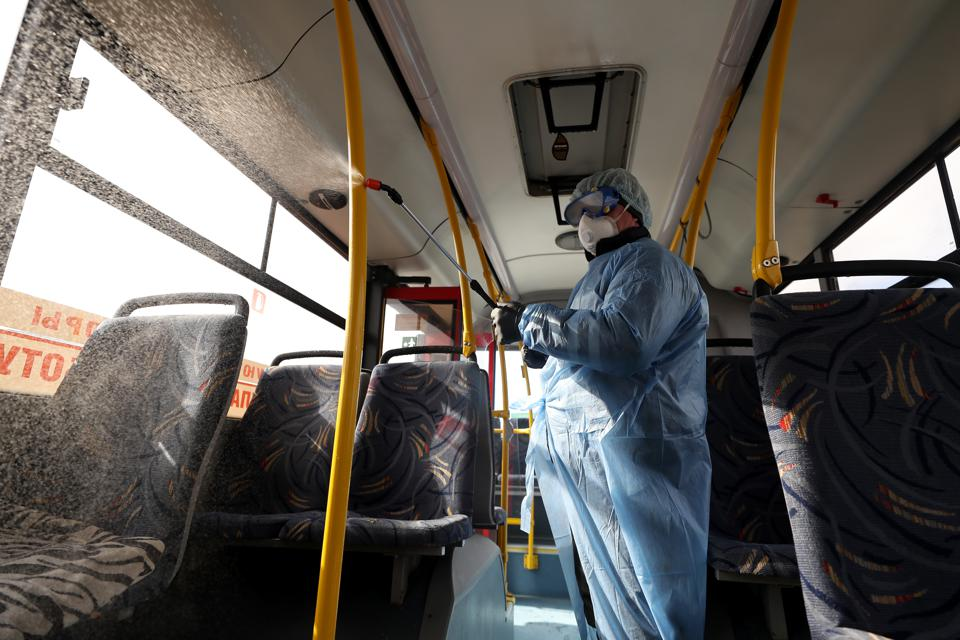 Disinfection of public transport in Kazan, Russia