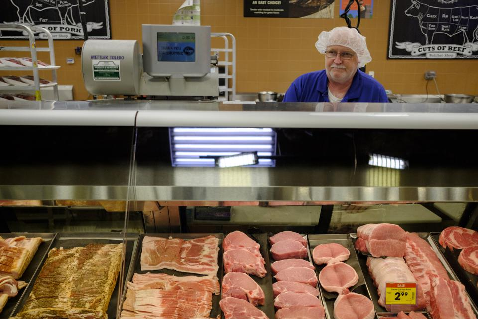 Meat ready for shoppers at a Kroger grocery store in Indiana during the coronavirus crisis.