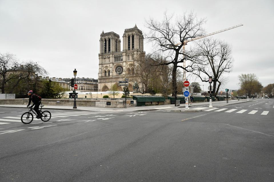 Coronavirus measures in Paris Notre-Dame cathedral Lockdown