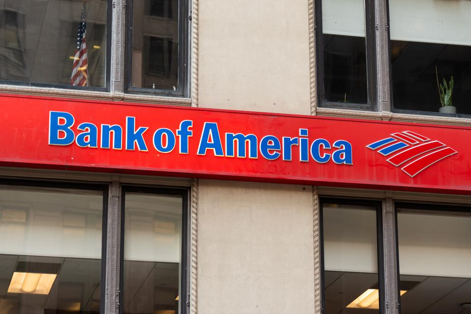 Bank of America logo seen in Lower Manhattan...