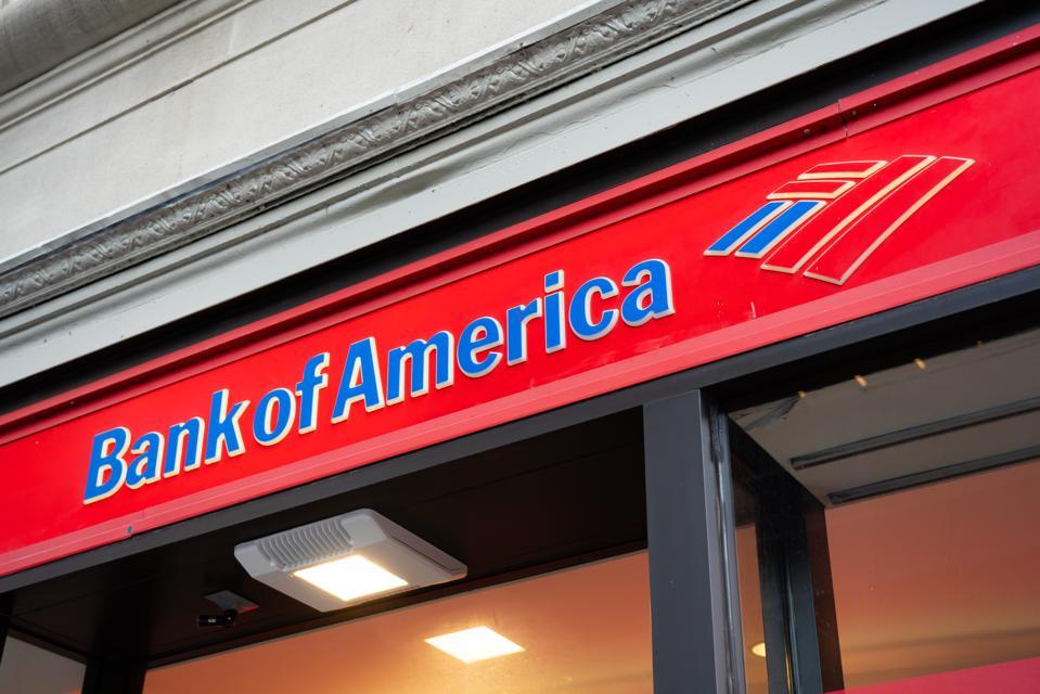 Bank of America logo seen in Lower Manhattan...