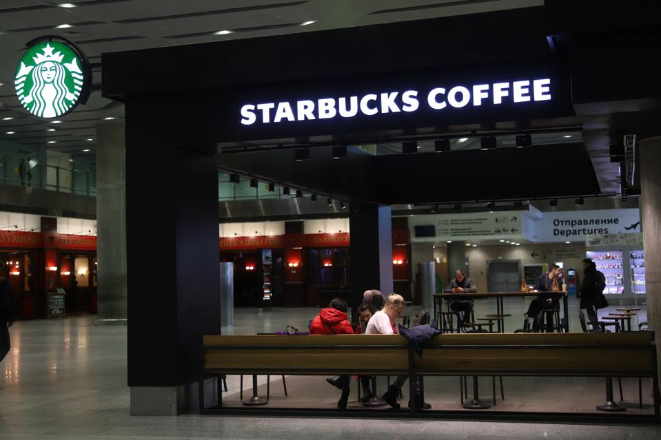 Logo of Starbucks coffee is seen at Galeria Shopping and...