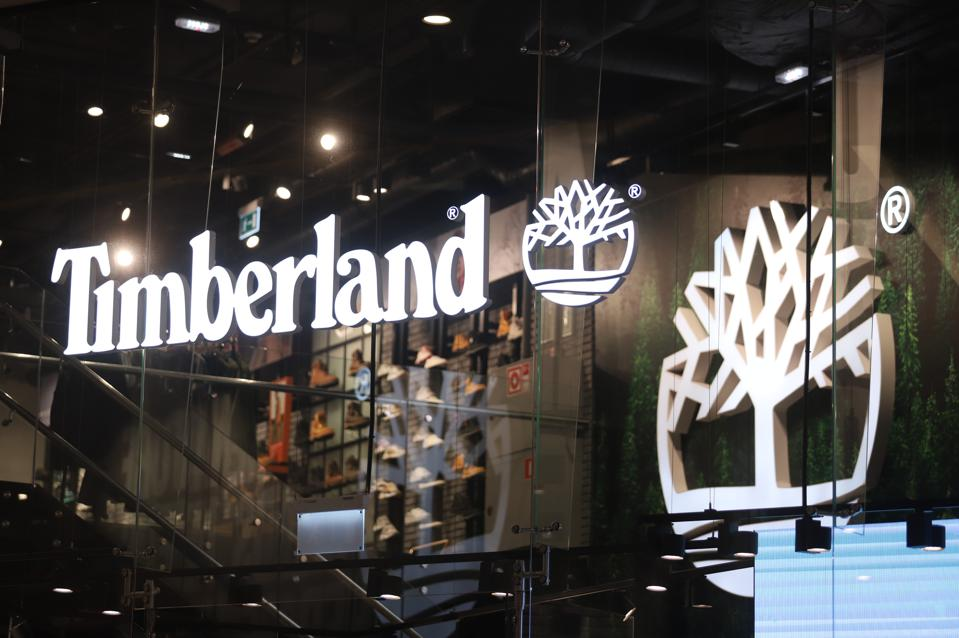 Logo of Timberland is seen at Galeria Shopping and...