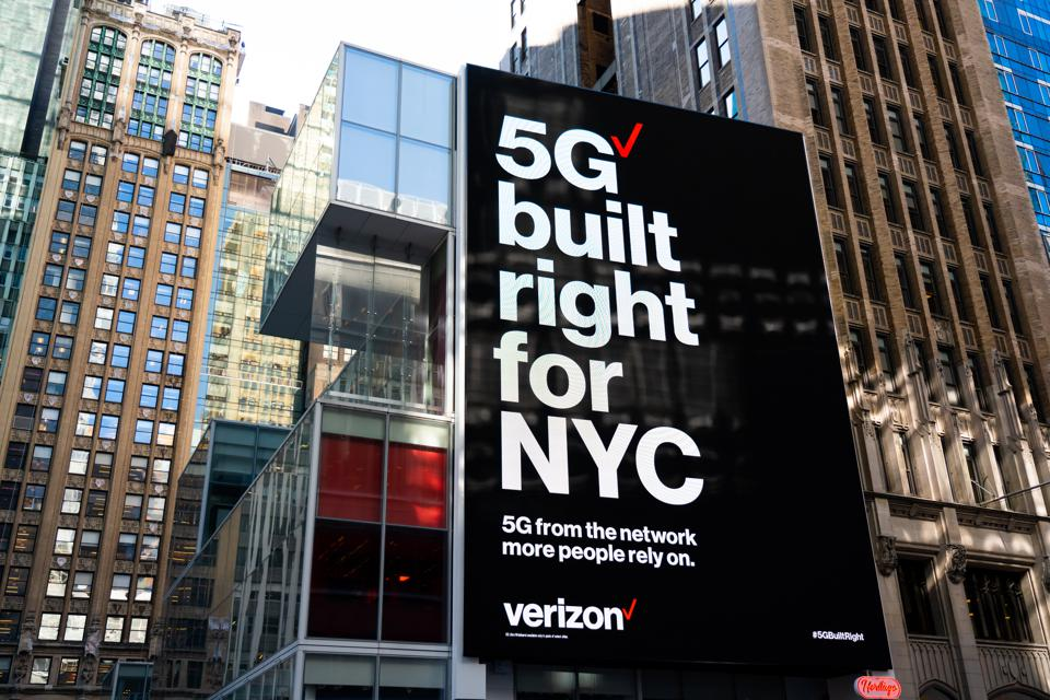 Verizon ″5G built right for NYC″ advertisement seen outside...