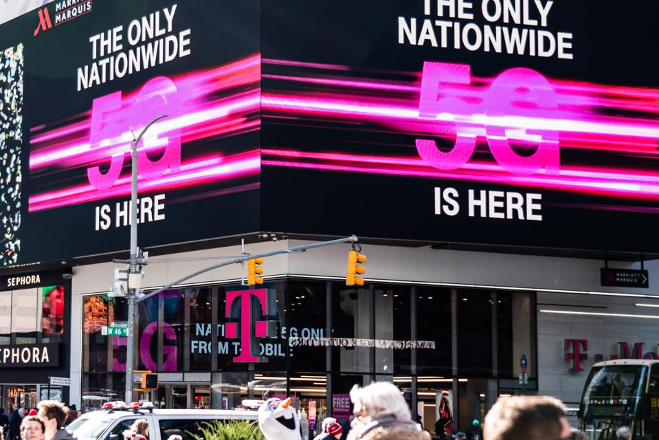 T-Mobile 5G nationwide network advertisement seen in Midtown...