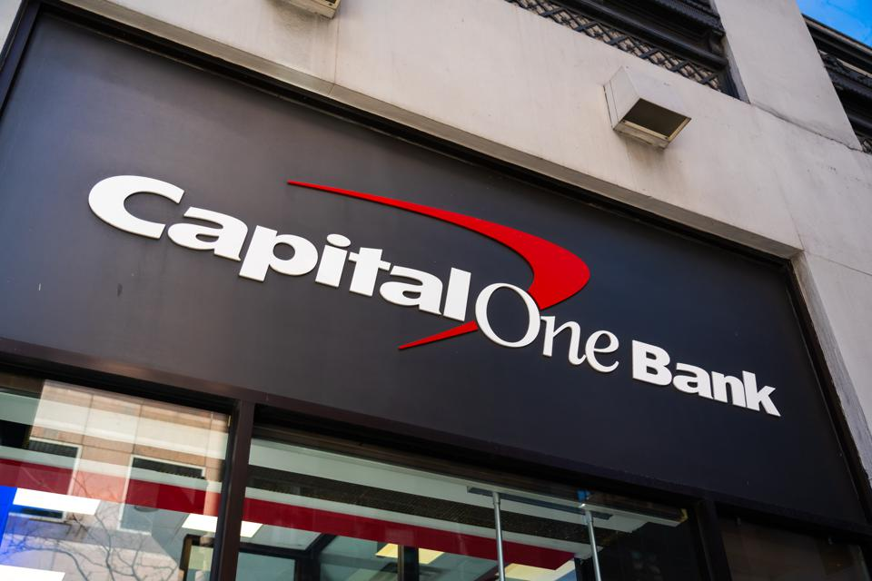 Capital One Bank logo seen in New York City...