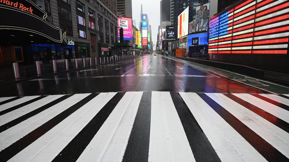 A lonely Times Square.