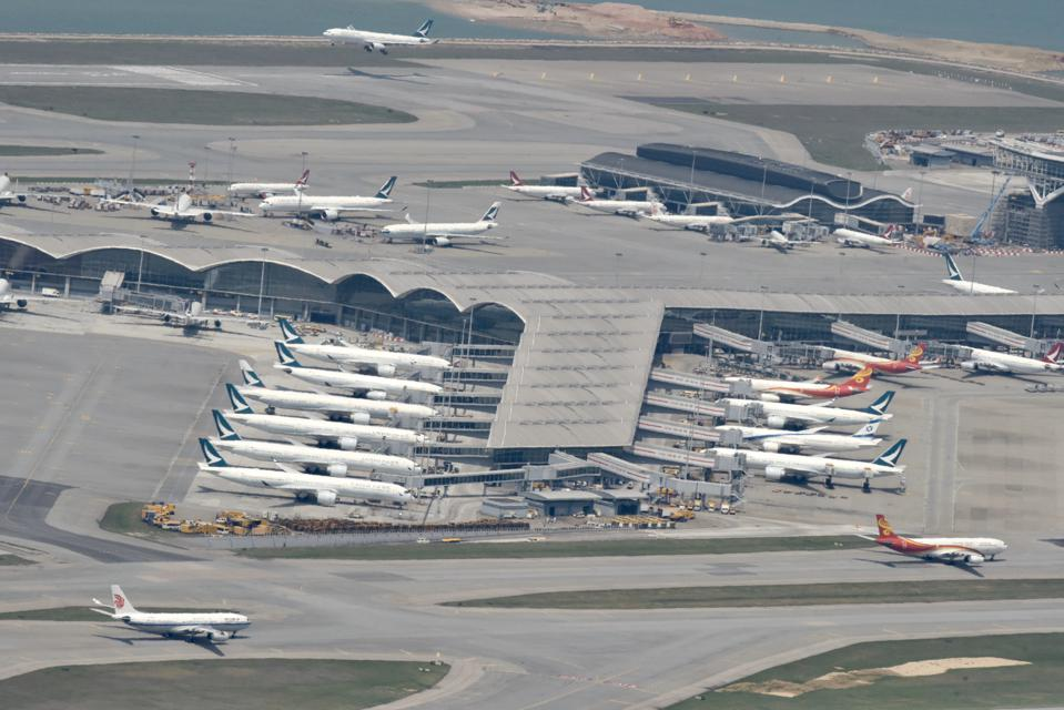 Hundreds of airplanes were grounded by the outbreaks of novel coronavirus in Hongkong,China on 23th March, 2020
