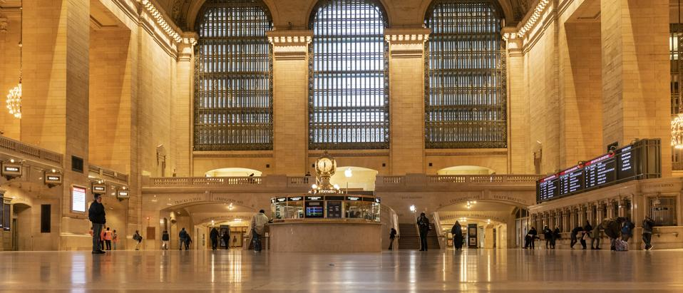 Virtually empty main floor of Grand Central Terminal on...