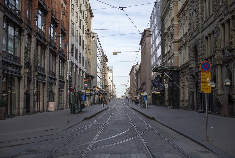 An empty street in Helsinki amid the COVID-19 pandemic.