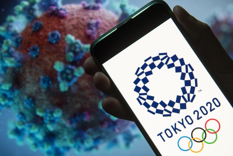In this photo illustration the 2020 Tokyo Olympics logo seen...