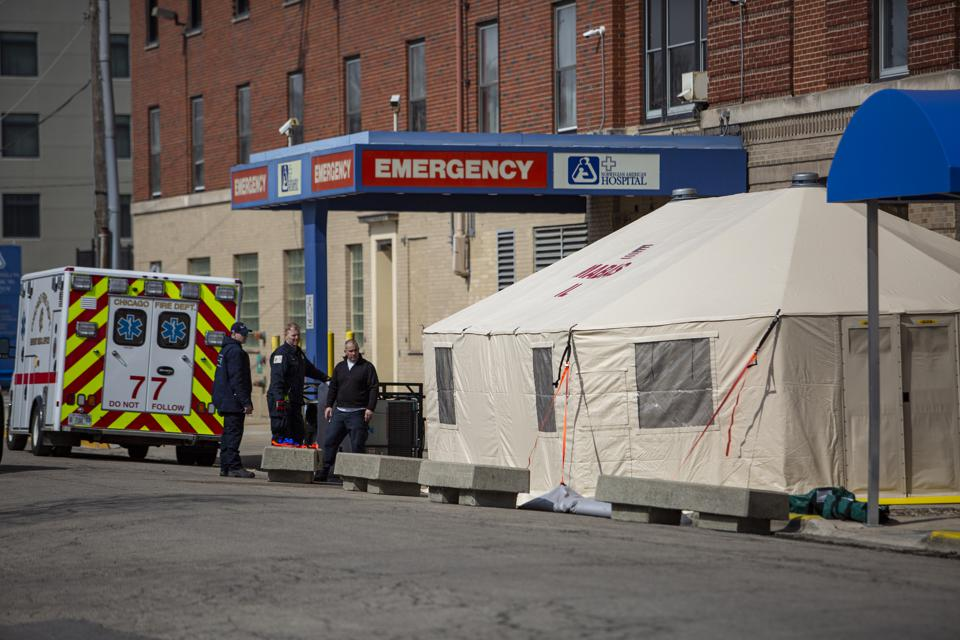 COVID-19 Tents Constructed At Norwegian American Hospital In Chicago
