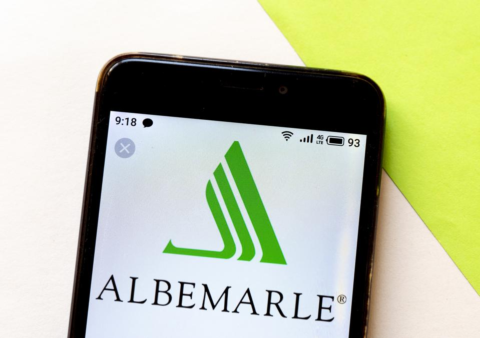 In this photo illustration an Albemarle logo is seen...