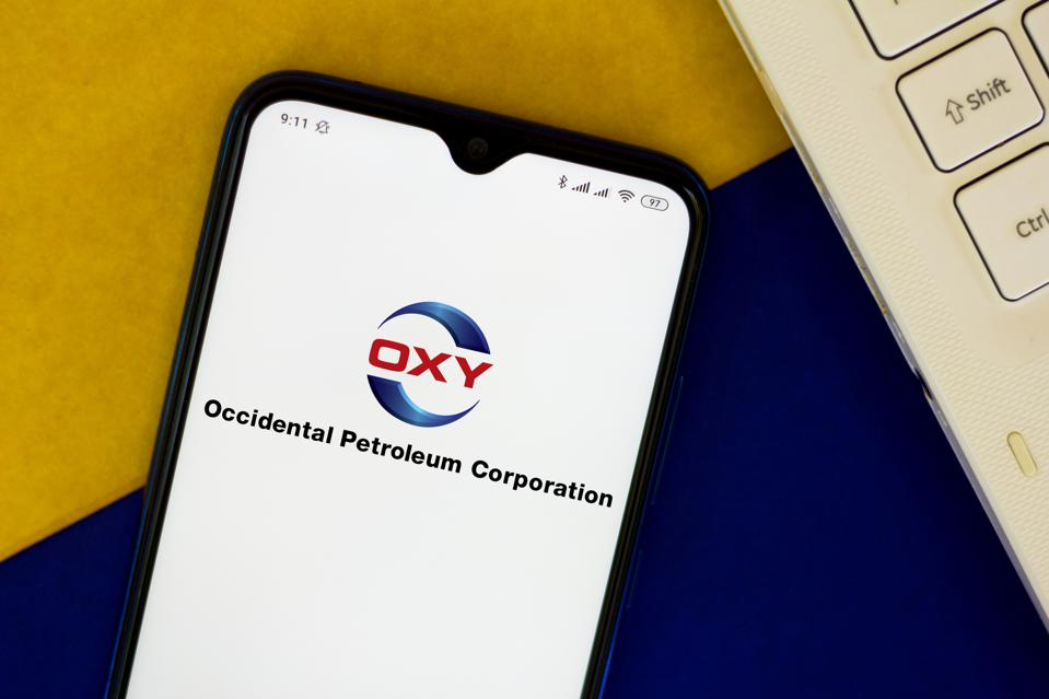 In this photo illustration a Occidental Petroleum (OXY) logo...
