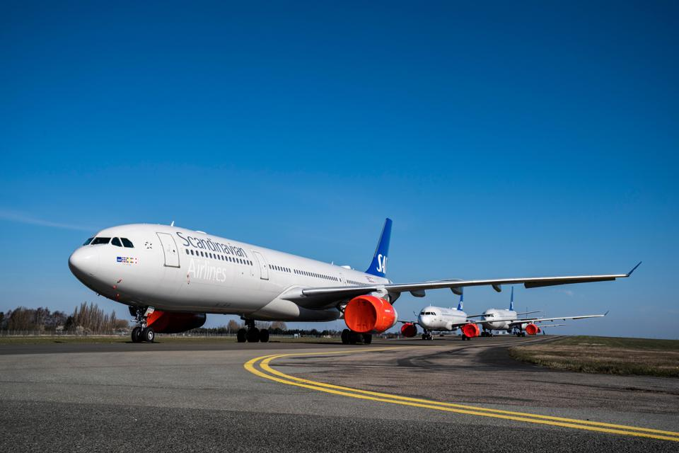 Scandinavian Airlines (SAS) aircraft on the tarmac at Copenhagen Airport in Denmark.