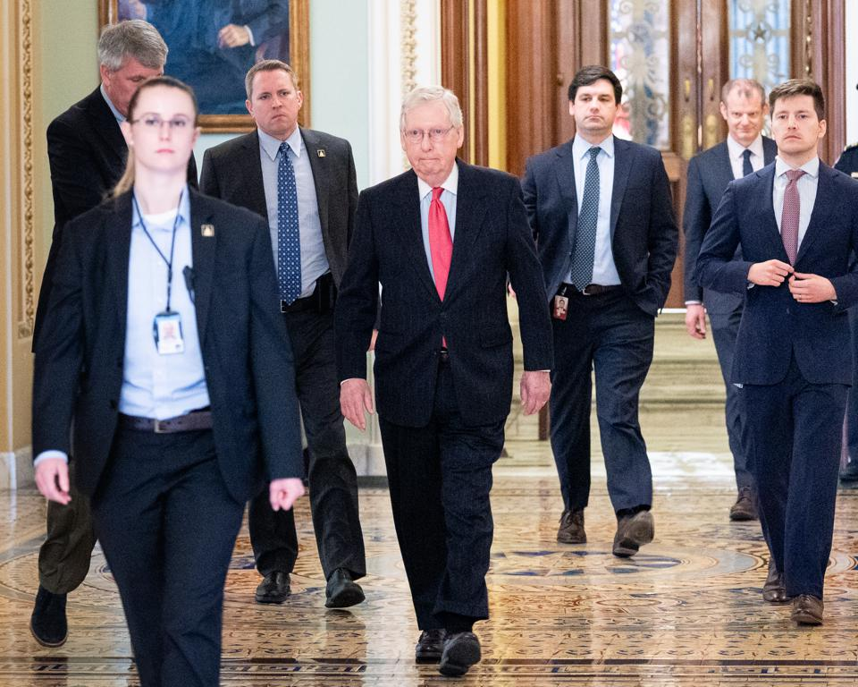 Mitch McConnell Gives a Thumbs Up to the Coronavirus Legislation in Washington, US