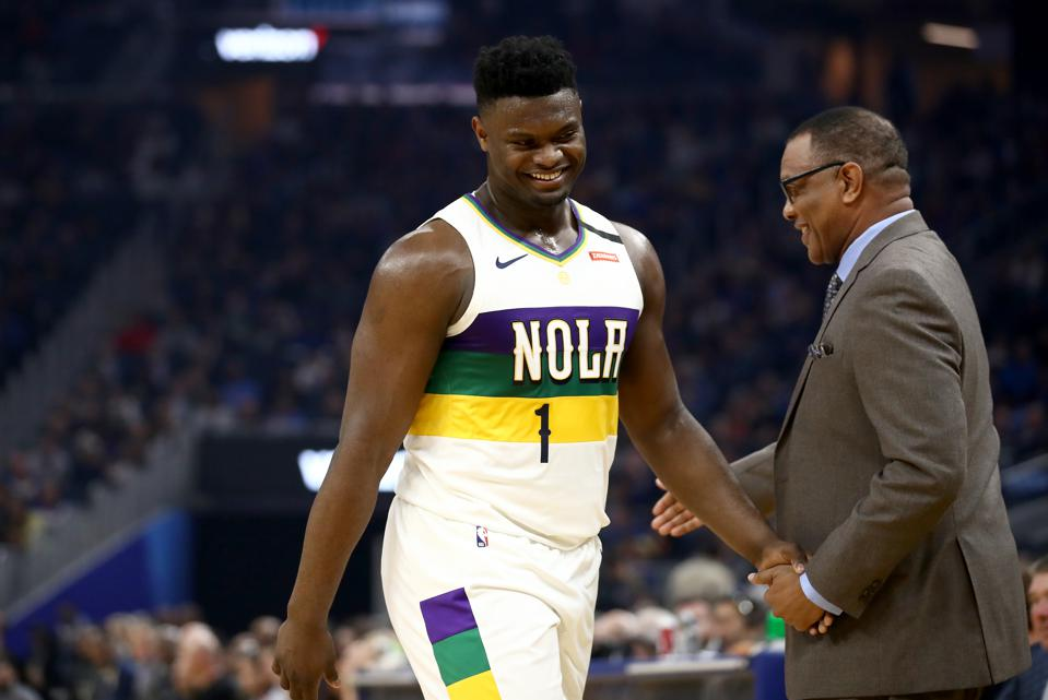 New Orleans Pelicans v Golden State Warriors. Alvin Gentry and Zion Williamson