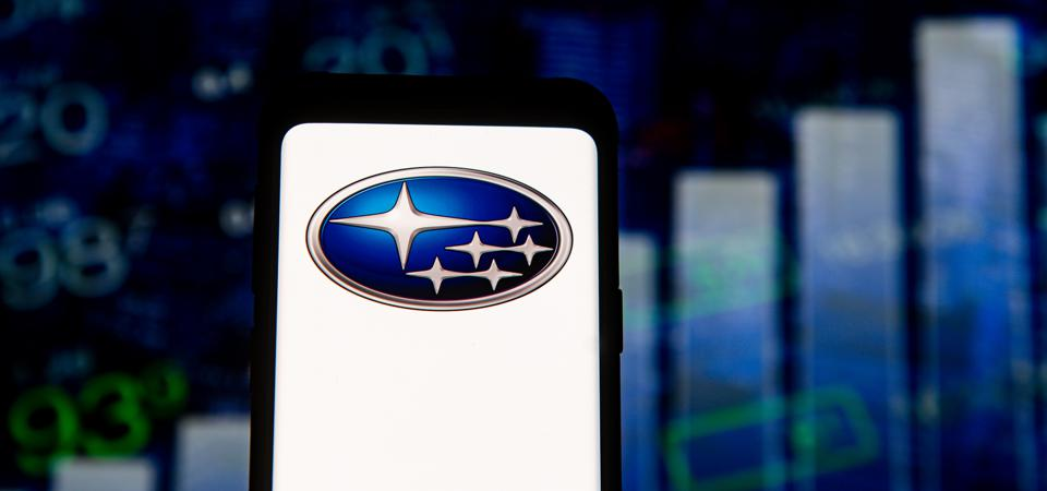The Japanese car manufacturer, Subaru, is named - and the logo represents - the stars in the Pleiades.  (Photo illustration by Mateusz Slodkowski / SOPA / LightRocket Images via Getty Images)