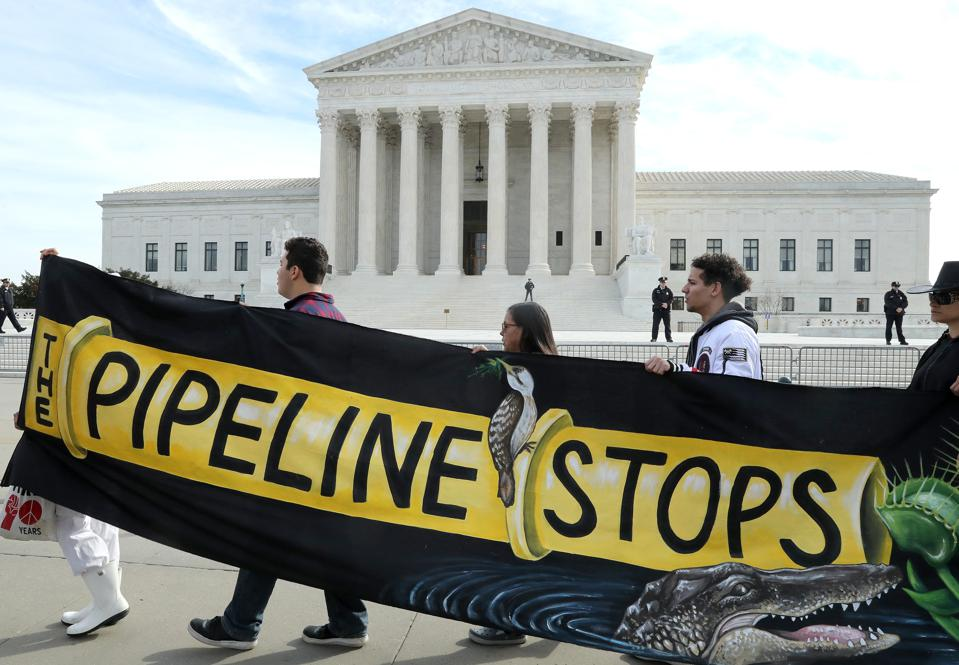 Environmental Activists Protest Against Atlantic Pipeline As Supreme Court Hears Case