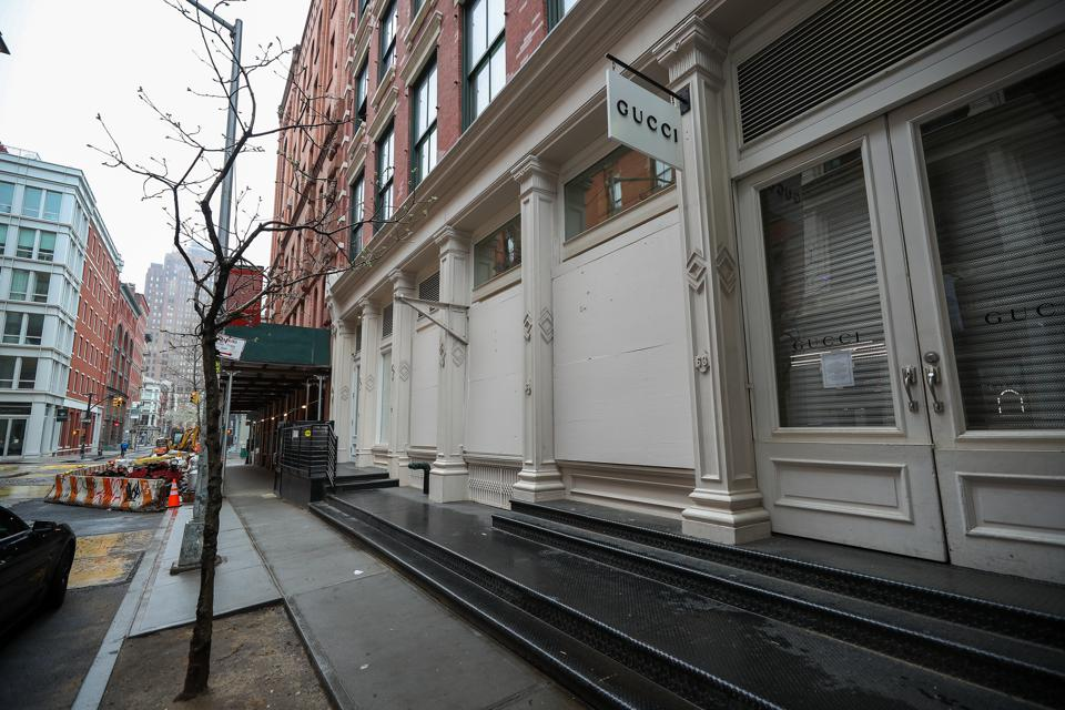 Storefronts in New York board up due to coronavirus