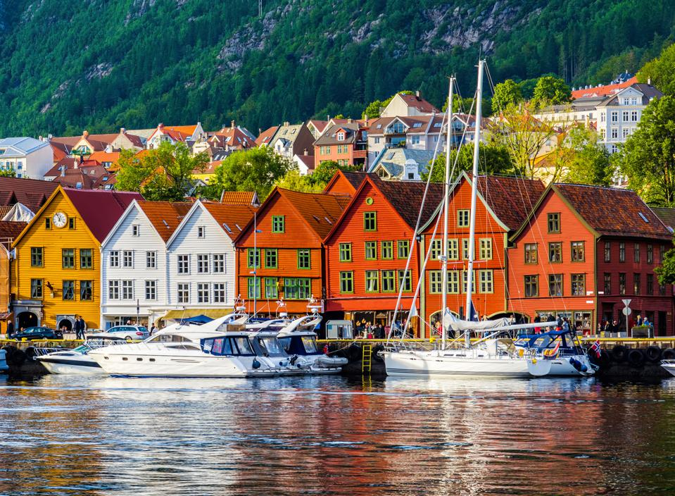 View of the historical buildings in Bryggen, the Hanseatic wharf in Bergen, Norway.