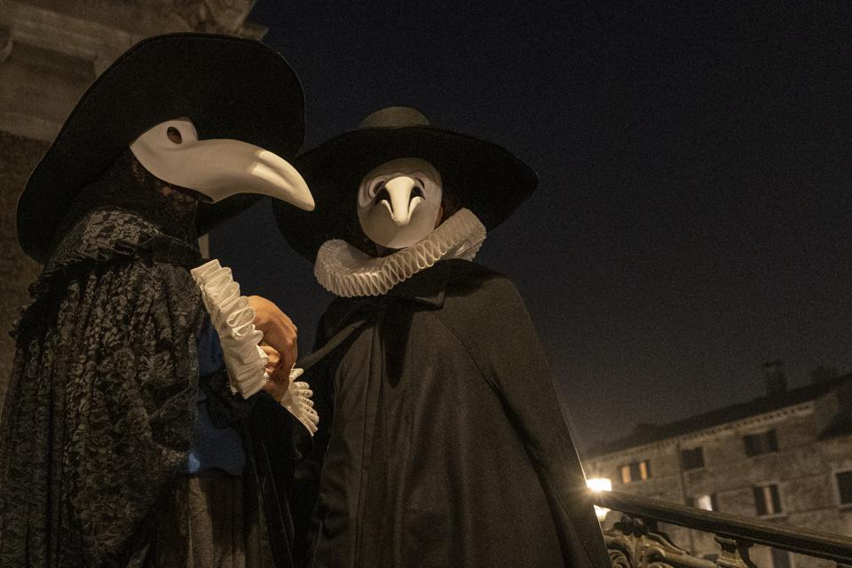 Doctors Of The Plague Parade In Venice On The Last Day Of Carnival