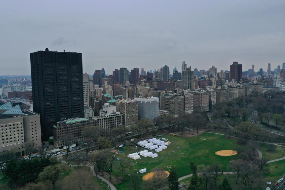 Emergency field hospital built in Central Park