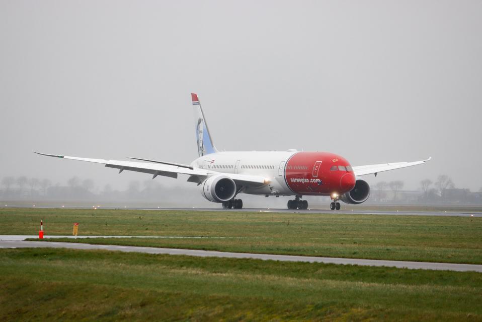 A Norwegian Boeing 787 Dreamliner on the runway
