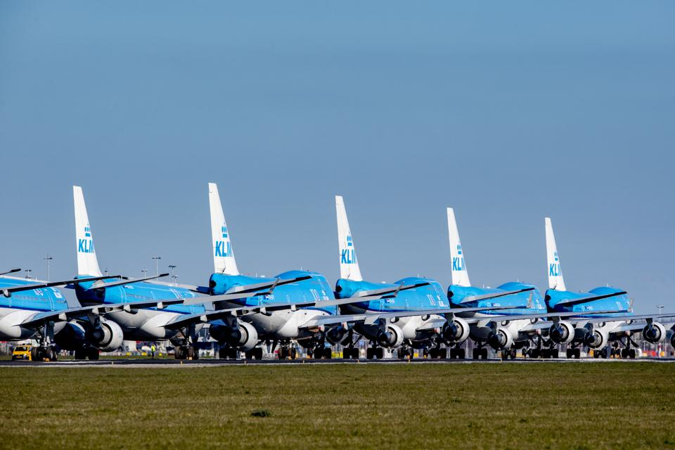 KLM aircrafts  seen parked at Schiphol Airport in Amsterdam...