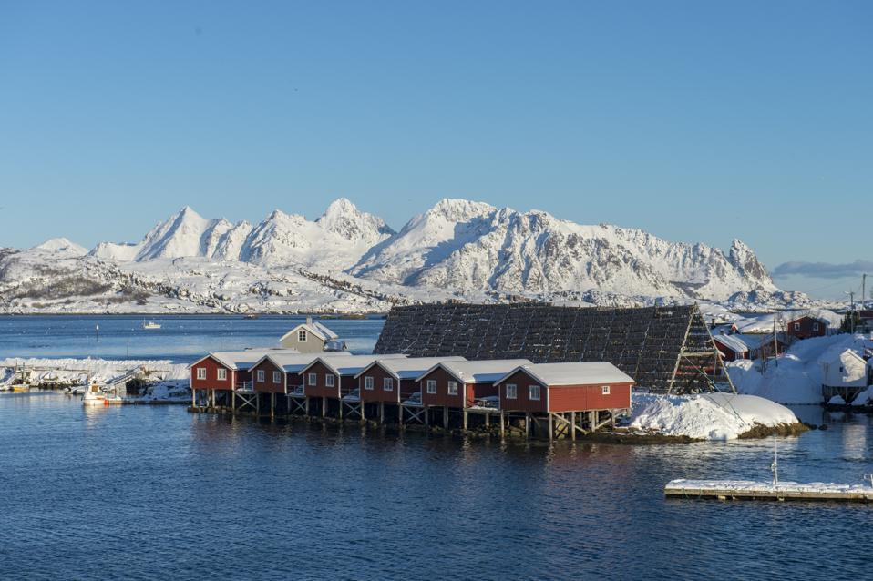Svinøya Rorbuer, fishing cottages in Svolvær on Norway's Lofoten islands.