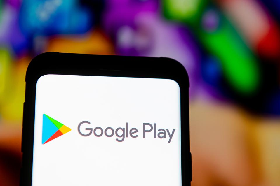 The Google Play logo seen displayed on a smartphone