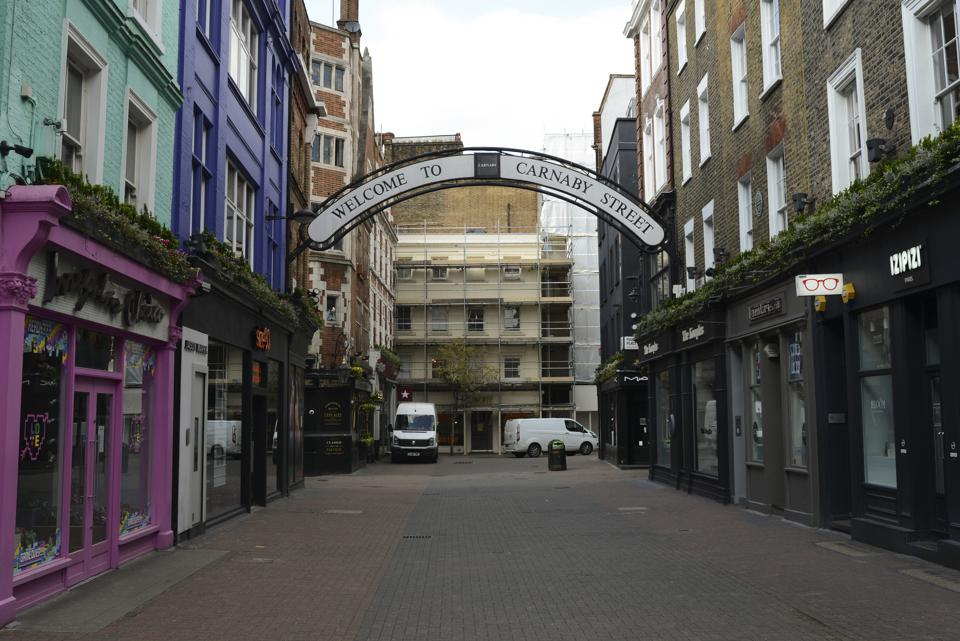 A view of a deserted Carnaby street during the coronavirus...