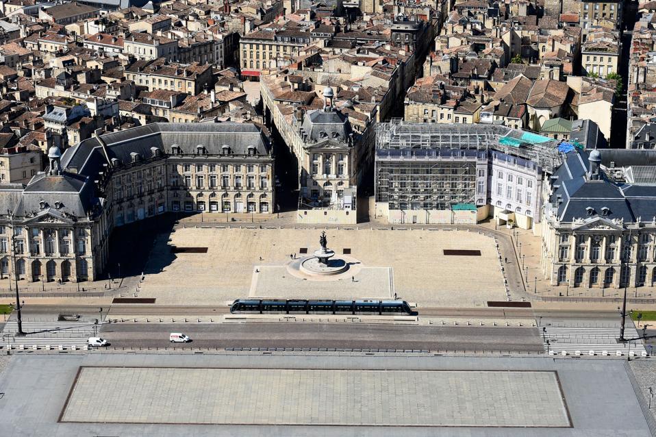 Deserted Place de la Bourse in the city of Bordeaux, France