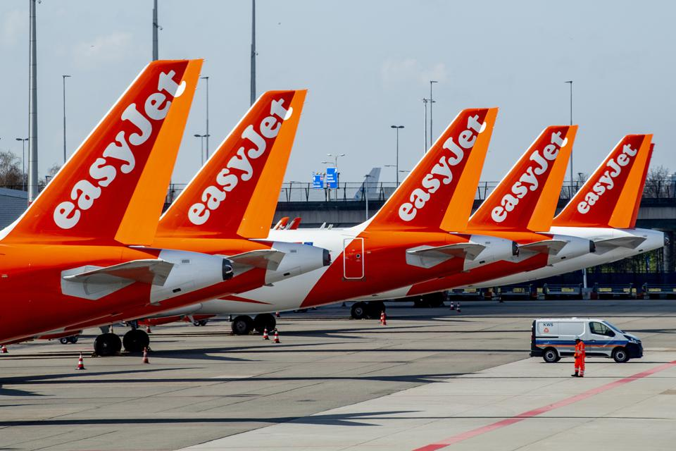 EasyJet aircrafts parked at an empty Schiphol Airport.