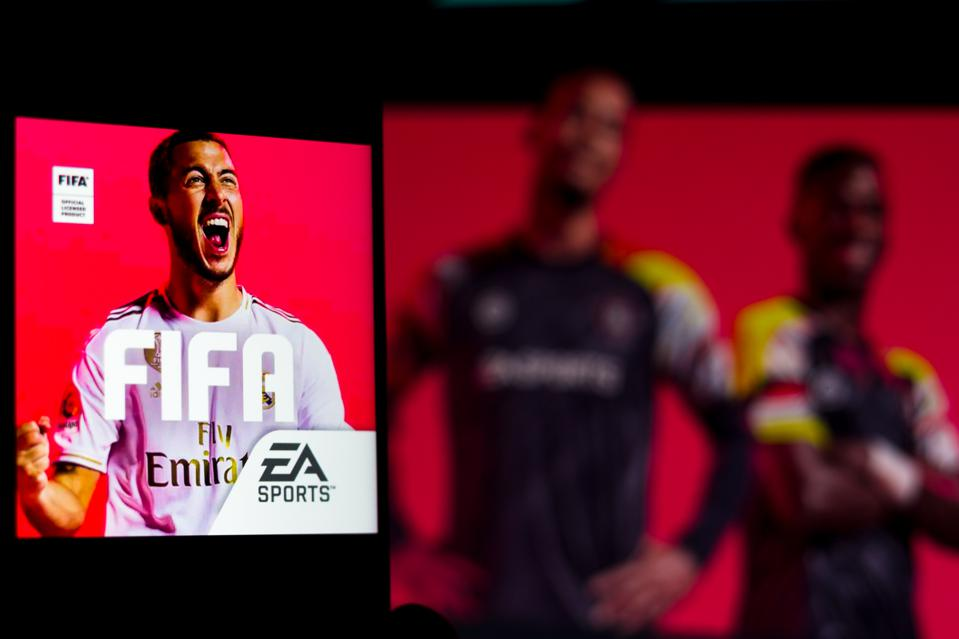 In this photo illustration a FIFA Soccer (EA SPORTS) logo...