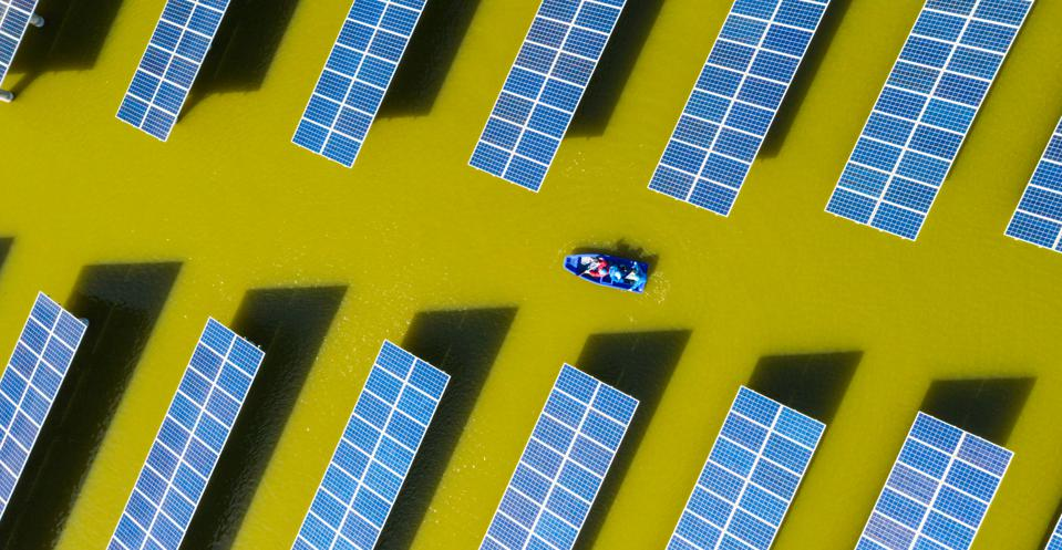 A photovoltaic power station on a lake in Haian City, Jiangsu Province, China.