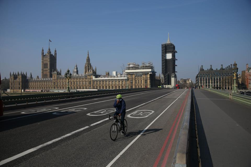 London lockdown bikes less cars less air pollution environment clean air