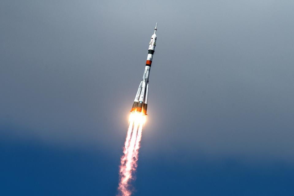 Soyuz-2.1a rocket booster with Soyuz MS-16 spacecraft launched from Baikonur Cosmodrome