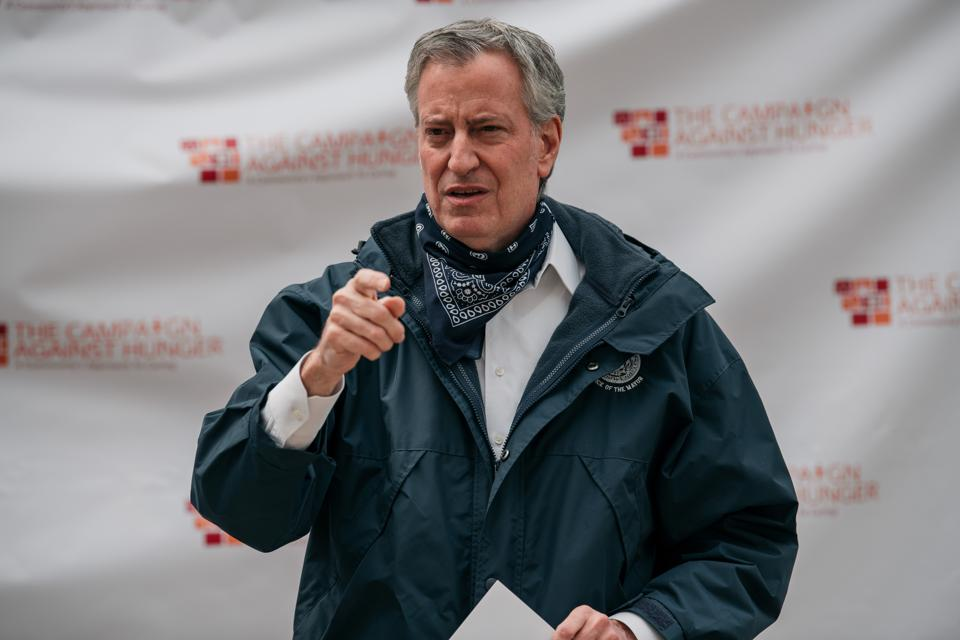 New York City Mayor De Blasio Visits A Food Pantry During Coronavirus Pandemic